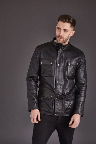 Men's Black Belted Leather Coat